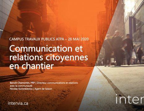 Communication de chantier et relations citoyennes - Conférence ATPA 2020